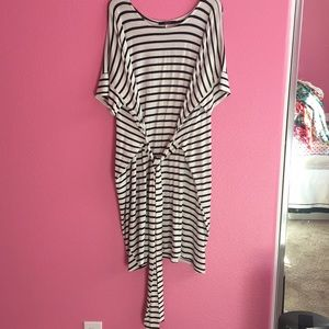 Forever 21 navy and white striped dress with tie